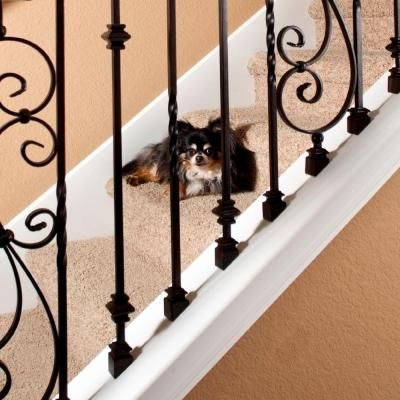 Best Stair Parts 1 2 In Matte Black Metal Angled Baluster Shoe 400 x 300