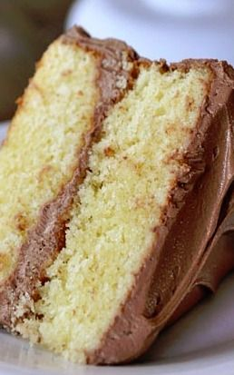 Perfect Yellow Layer Cake with Chocolate Frosting  Made this last night- perfection. Super moist cake!