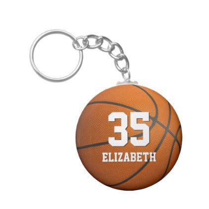einfache sportliche Mädchenbasketball-Trikotzahl Standard Runder Schlüsselanhänger | Zazzle   – premium gifts
