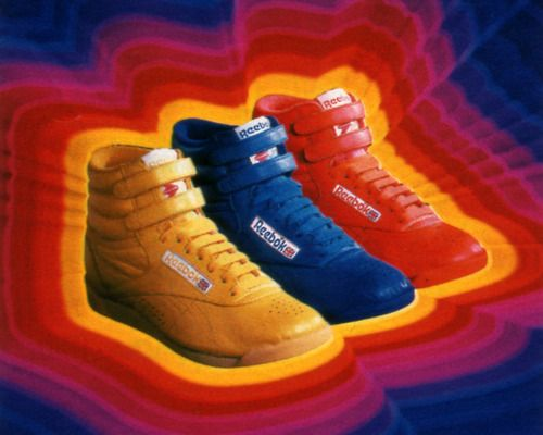 Reebok, Seventeen magazine, April 1985.  I had these in several colors.