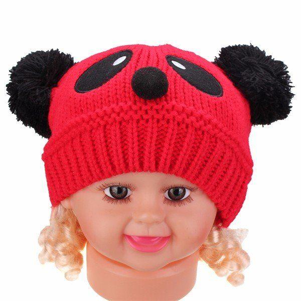 Baby Boys Girls Kid Cute Panda Soft Knit Crochet Hat Winter Warm Beanie Cap