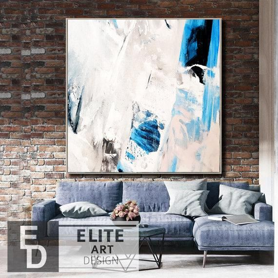 Large White Artwork Light Blue Wall Art Blue And White Art Etsy Large Abstract Painting Canvas Painting Abstract Canvas Art