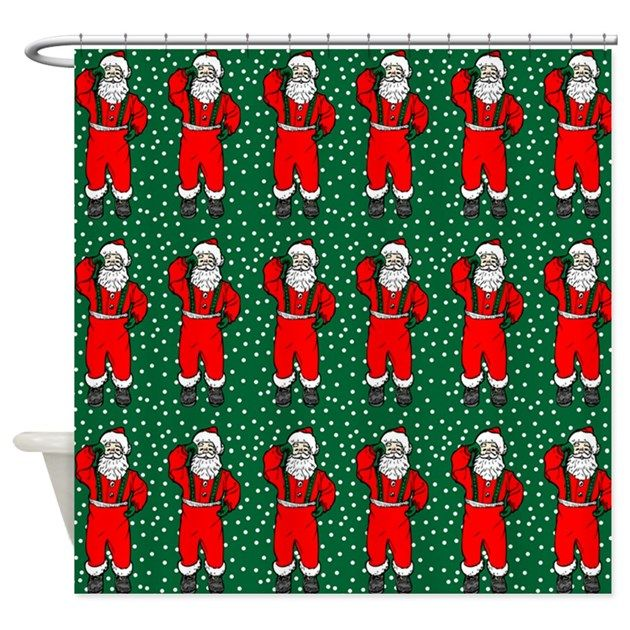 Sta. Claus and snow - holiday shower curtain