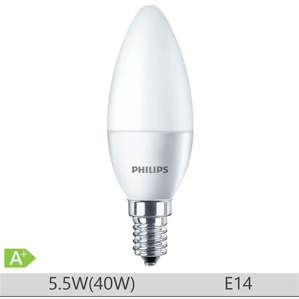 Bec LED Philips 5.5W E14, forma lumanare B35, lumina neutra http://www.etbm.ro/tag/149/becuri-led-e14