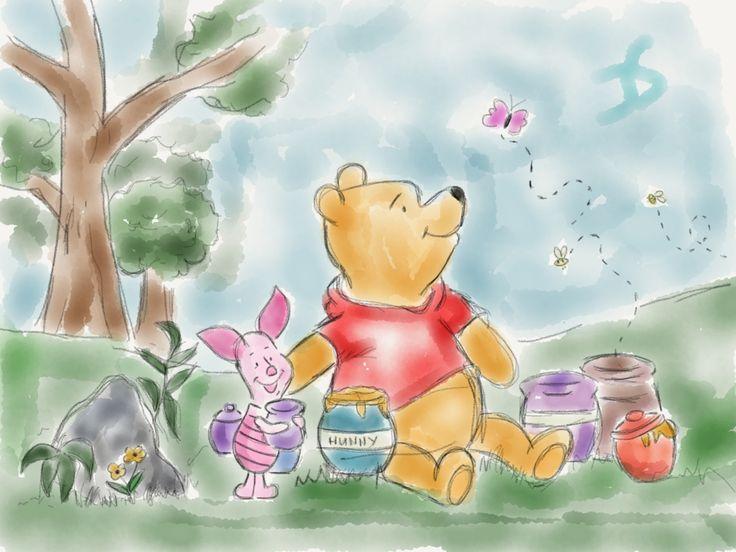 Winnie the Pooh #winnie #winnie the pooh #disney #piglet #sketch #drawing