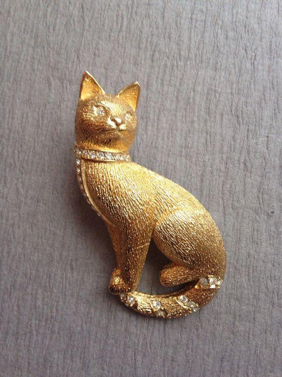 Brooches Store Matt Black Sitting Cat Brooch with Swarovski Crystals rO8WOo