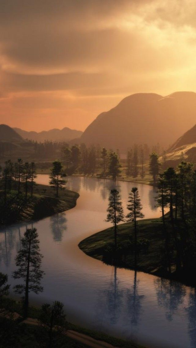 Landscape, River, Evening, Forest, Mountain