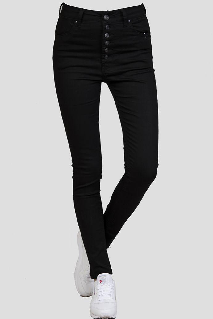 Czarne spodnie z rządkiem guzików i wysokim stanem