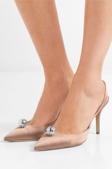 Heel measures approximately 85mm/ 3.5 inches Antique-rose satin Elasticated slingback strap Designer color: Blush Made in ItalySmall to size. See Size & Fit notes.