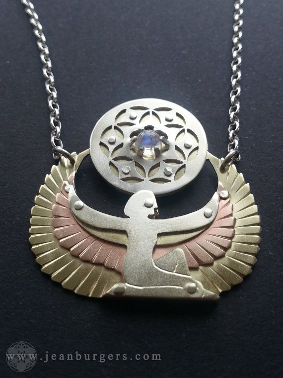Isis Winged Goddess Pendant holding Seed of Life with Rainbow Moonstone - Egyptian - Handcrafted Sacred Geometry Jewellery