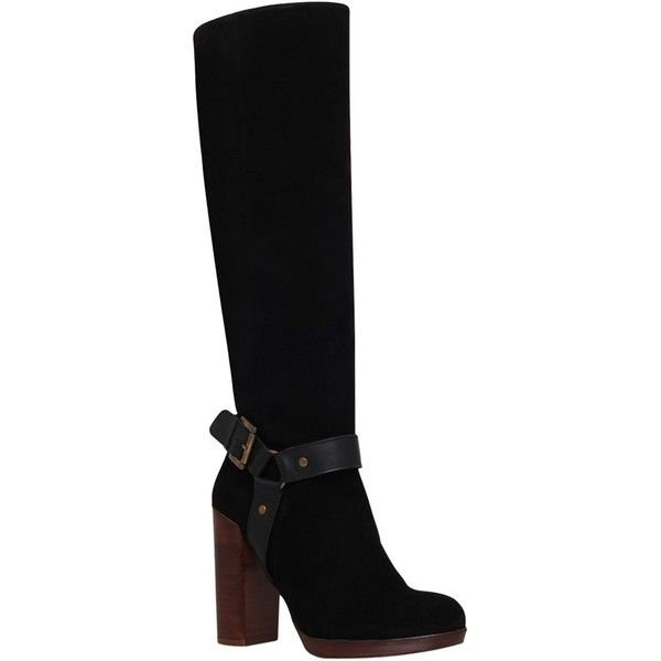 KG by Kurt Geiger Venice High Heel Knee Boots ($130) ❤ liked on Polyvore featuring shoes, boots, black suede, black flat boots, black flat knee high boots, suede knee-high boots, black suede knee high boots and black knee high boots