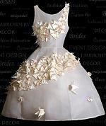 origami (dream...dress...covering in white...flying away...leave different color dress...