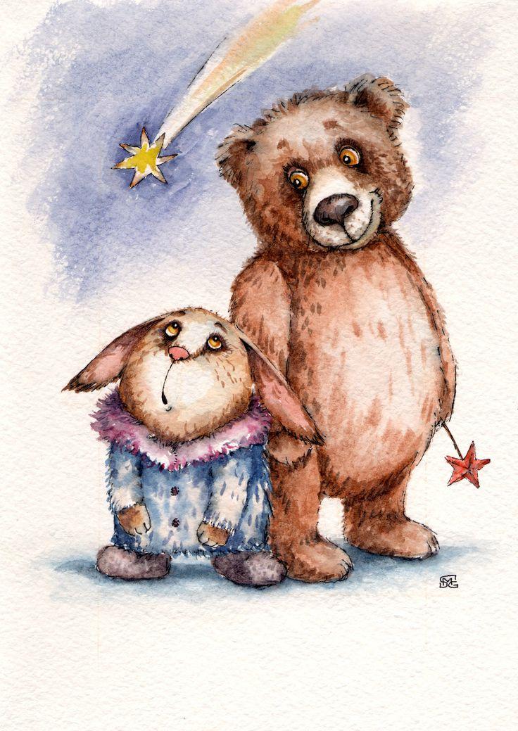Открытки медвежонок и зайчонок, новогодние открытки открытка