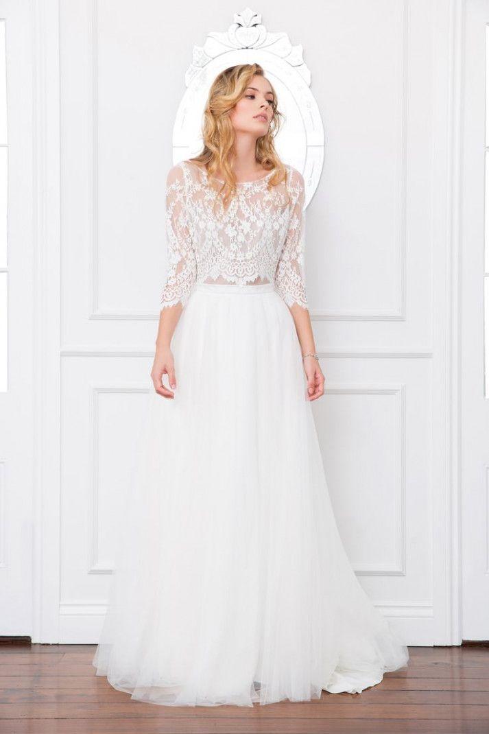 Samara Bodice And Lilah Skirt Lace Top Bridal Separates Long Sleeve Tulle Skirt Weddingoutfit Skirt Lace Top Wedding Wedding Dress Separates Wedding Separate