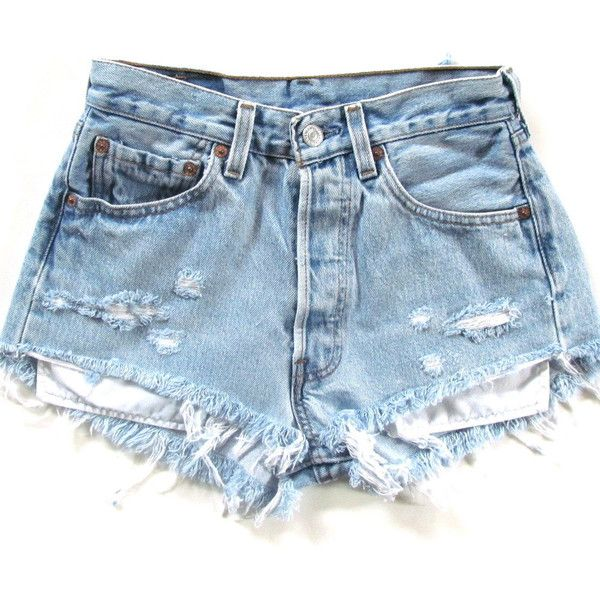 Size 31 high waisted shorts light denim ($45) ❤ liked on Polyvore featuring shorts, bottoms, pants, short, short shorts, denim shorts, vintage denim shorts, high-waisted shorts and highwaisted shorts