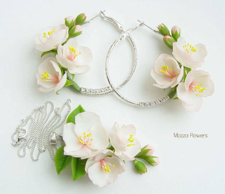 """Купить Комплект """"Цветы яблони"""". Цветы из полимерной глины. - бледно-розовый, комплект, яблоня"""