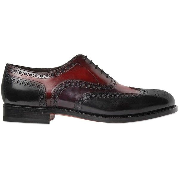 Santoni Men Brogue Tricolor Leather Oxford Shoes (17,375 MXN) ❤ liked on Polyvore featuring men's fashion, men's shoes, men's oxfords, multi, mens lace up shoes, mens brogues, mens leather lace up shoes, mens oxford shoes and colorful mens shoes