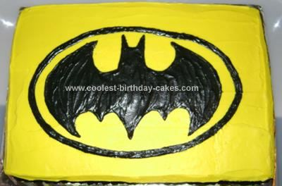 Homemade Batman Cake: This Batman cake was a 22nd birthday cake for one of my Mom's co-workers.  The cake is a white cake; from a box, the logo is a coloring page I modified