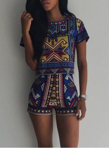 Vintage Geometric Printed Short T-Shirt+High Waist Shorts Twinset For WomenShorts | RoseGal.com