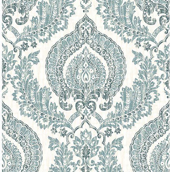 Kensington Damask Blue Peel And Stick Wallpaper Nuwallpaper Damask Wallpaper Peel And Stick Wallpaper