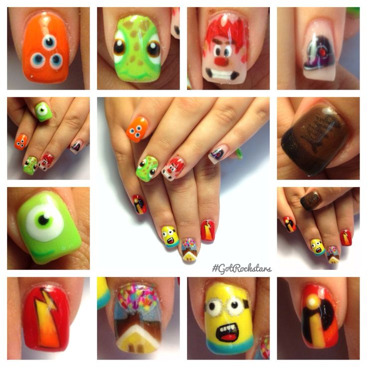 Disney nails , Pixar nails. Chicken little, monsters inc., up, Meet the Robinsons, toy story, cars, Wreck it Ralph, the incredible's, and finding Nemo nails.