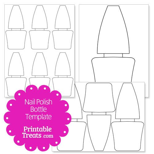 Printable nail polish bottle shape template craft for Nail salon coloring pages