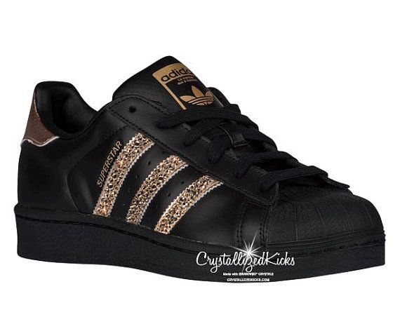 adidas superstar femme noir et or