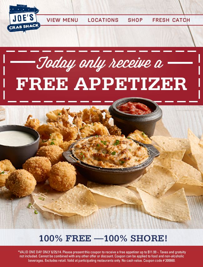 Pinned June 25th: $12 appetizer free today at Joes #Crab Shack #coupon via The #Coupons App