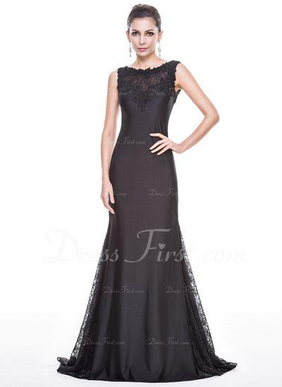 Trompete/Meerjungfrau-Linie U-Ausschnitt Sweep/Pinsel zug Spitze Jersey Abendkleid mit Perlen verziert Pailletten (017056151) Preis: € 194.01
