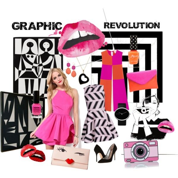 Graphic Revolution by giovanina-001 on Polyvore featuring Roksanda Ilincic, Opening Ceremony, Kurt Geiger, Yazbukey, Kate Spade, J.Crew, Georg Jensen, David Aubrey, Violent Lips and NYX