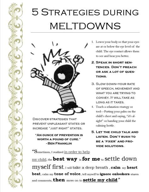 5 Strategies during meltdowns