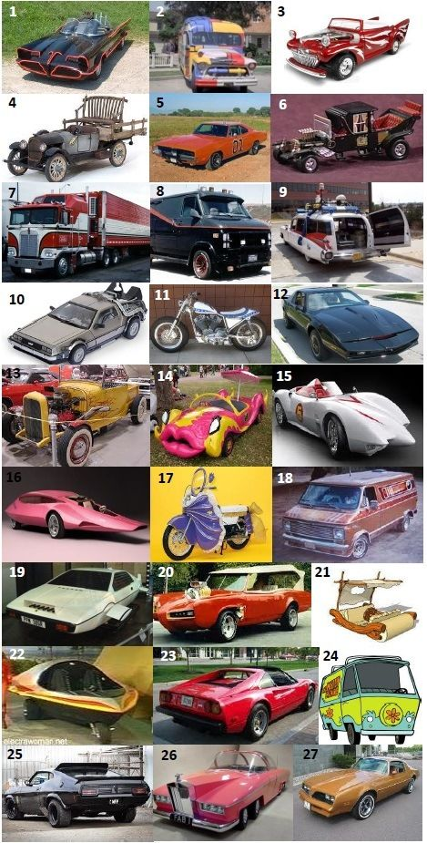 WHEELS - Can you name which characters drove these vehicles in TV shows and movies from the 70s and 80s?