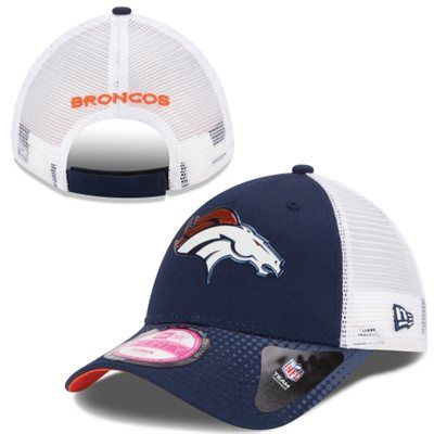 New Liquid Chome Logo! Women's Denver Broncos New Era White/Navy Blue 2015 NFL Draft 9FORTY Adjustable Hat