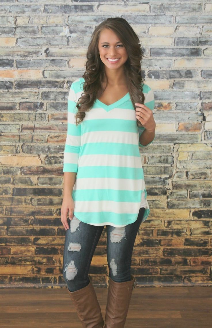 The Pink Lily Boutique - A New Day Mint Stripe Blouse, $35.00…