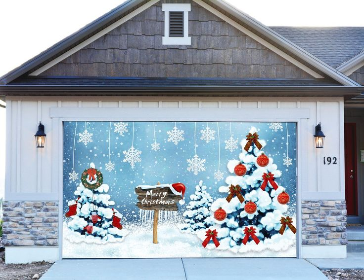 1000 images about christmas decorations for garage door for Christmas garage door mural