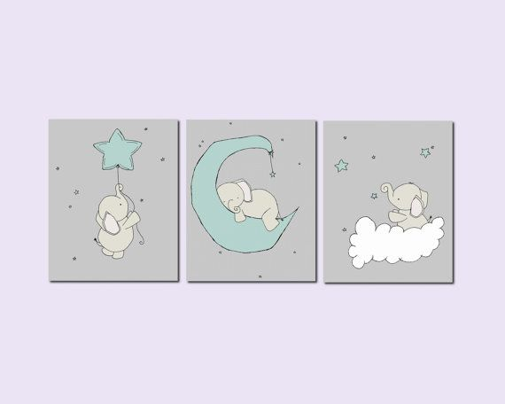 Nursery Art A set of prints of elephants in the night sky, with stars, a dreamy addition to your nursery    *Be sure to select your size in