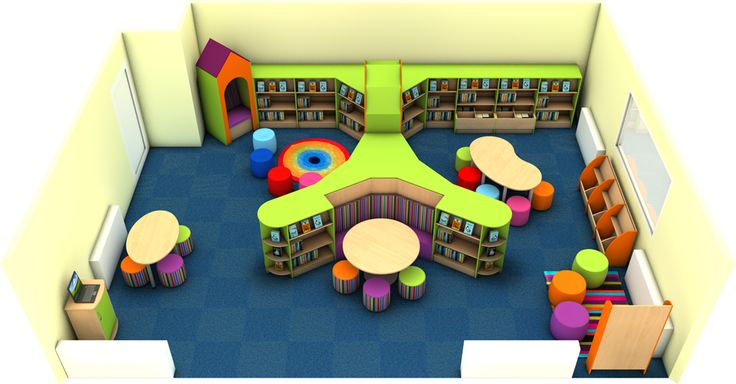 Bright and Colourful Primary School Library Design created by Incube Ltd