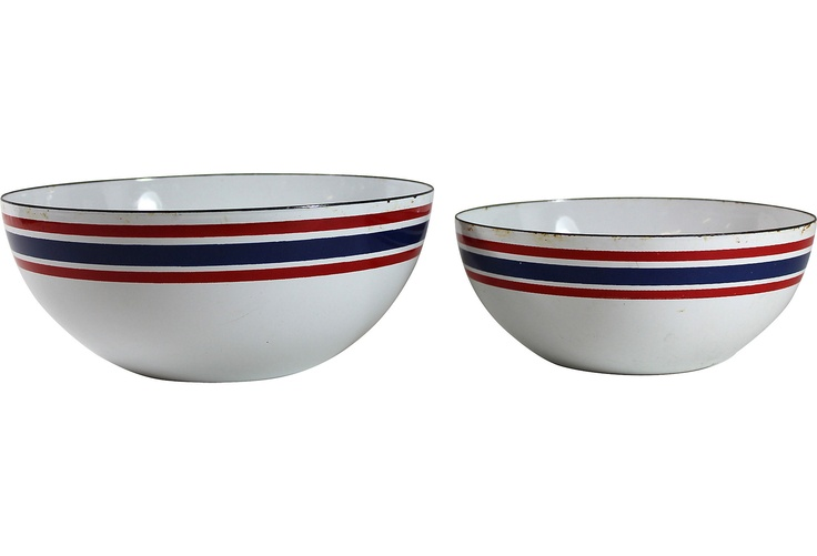 One Kings Lane - French Country Vintage - Midcentury Serving Bowls, Pair
