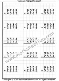 4 Digit Subtraction No Regrouping Three Worksheets