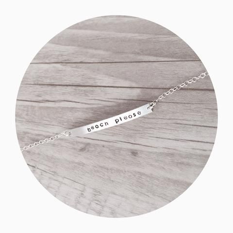 Bar Anklet. Beach Please. The perfect way to hold your special memories close to your heart.  I can stamp names, roman numerals, dates, coordinates, initials - the options are endless. Perfect as a birthday, bridesmaid or thank you gift! #anklets
