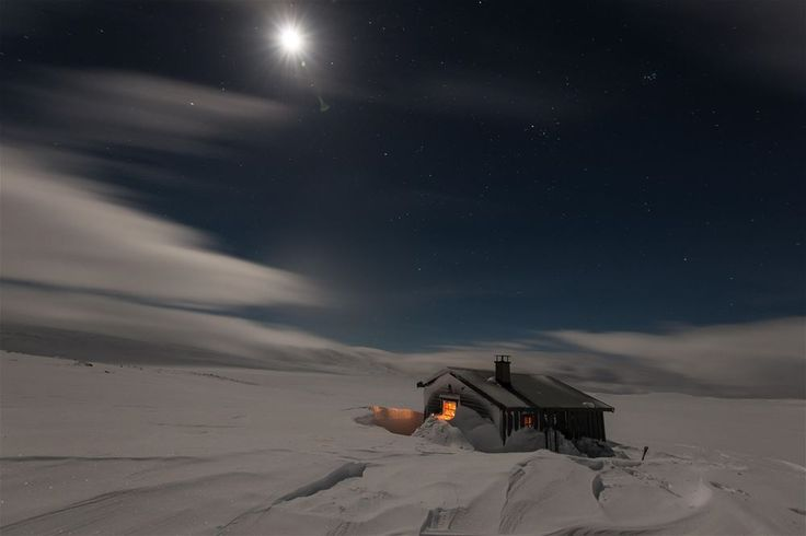 Amazing Mountain Cabin in the inner mountains of Norway . Winter and snow conditions.