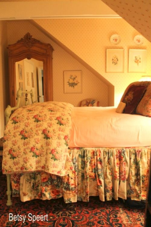 chintz | English cottage style | cottage bedroom | attic bedroom                                                                                                                                                                                 More
