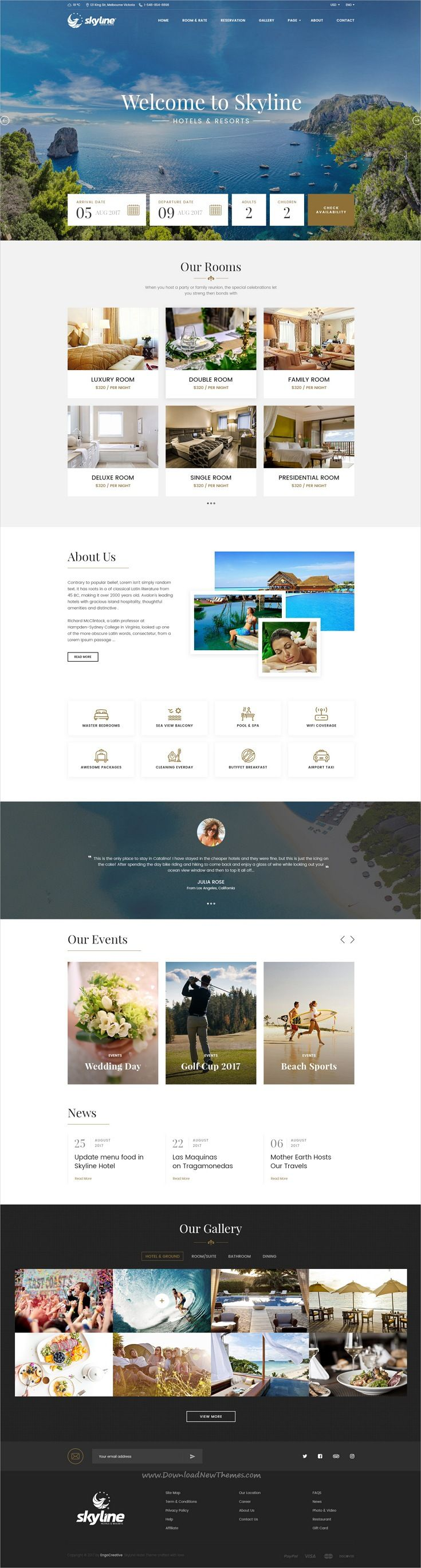 SkyLine is clean and modern design #PSD template for #hotel and #resorts online booking website with 45 layered PSD pages download now..