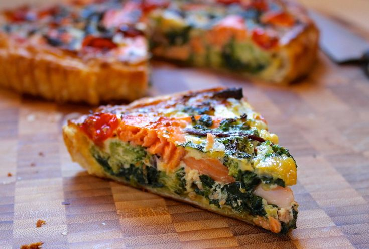 Creamy salmon & vegetable quiche recipe