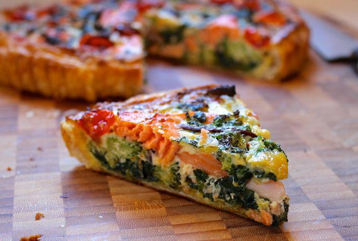 Creamy salmon & vegetable quiche recipe - ChelseaWinter.co.nz