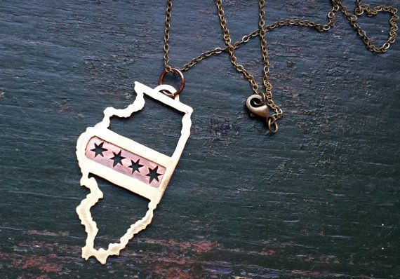 One of my FAVORITES!   Chicago Flag - State of Illinois handmade brass/copper pendant.