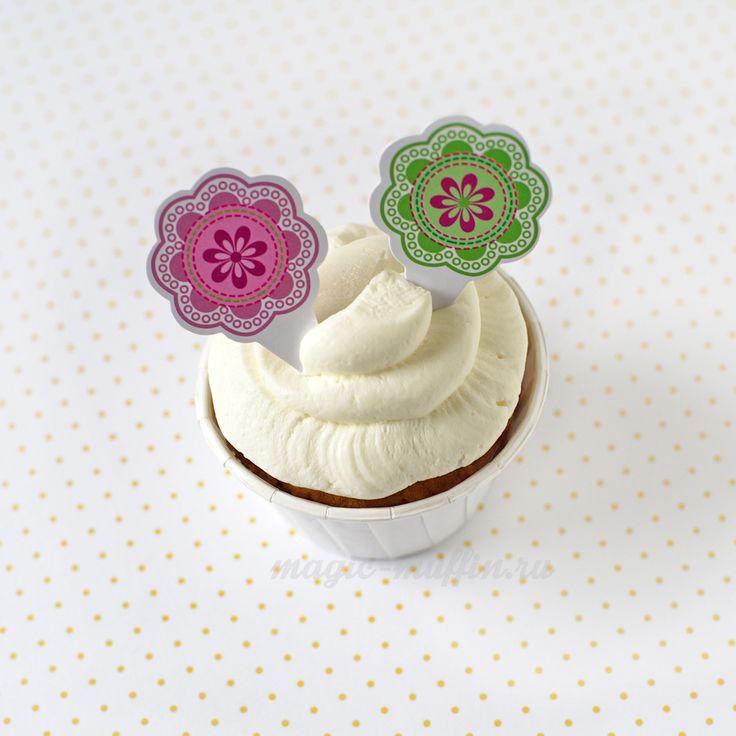 Топперы: розовые и зелёные цветы капкейк маффин торт декор крем выпечка рецепт cupcake muffin cake cup baking frosting decor birthday