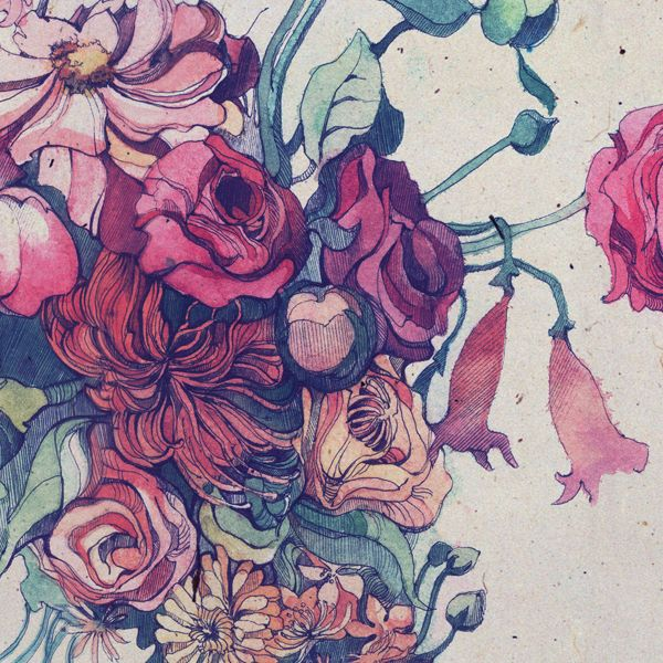 colour, linework, stylised floral