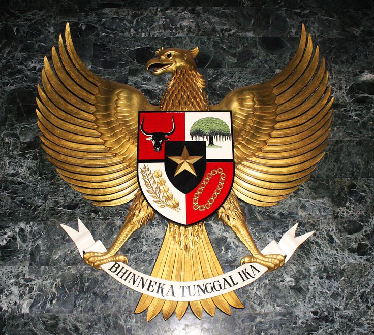 """The National emblem of Indonesia is called Garuda Pancasila.[1] The main part of Indonesian national emblem is the Garuda with a heraldic shield on its chest and a scroll gripped by its legs. The shield's five emblems represent Pancasila, the five principles of Indonesia's national ideology. The Garuda claws gripping a white ribbon scroll inscribed with the national motto Bhinneka Tunggal Ika written in black text, which can be loosely translated as """"Unity in Diversity""""."""