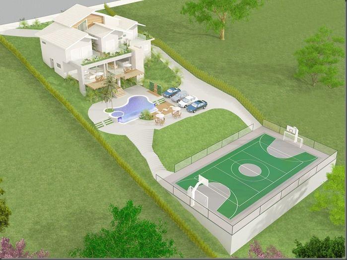 Plantas de casas em terreno de declive com piscina for Casa de campo pequena con piscina